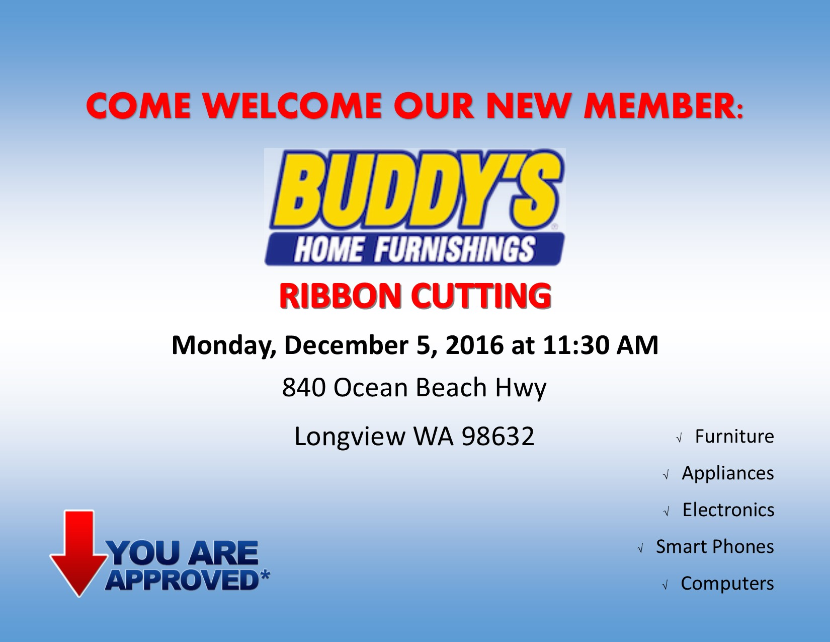 Buddy 39 S Home Furnishings Ribbon Cutting Kelso Longview Chamber Of Commerce